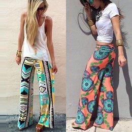 Wholesale Summer Women Pants Wide Leg Long Bohemian Leggings Palazzo Trousers Beach Pants