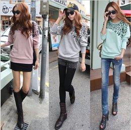Wholesale 2015 High Street New Korean Fashion Women Trendy Clothes Loose T Shirt Leopard Woman t shirt Batwing Long Sleeve Tops Gray