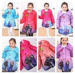Wholesale frozen winter coat jacket baby girl Frozen Queen Elsa Anna Snowsuit Outwear winter children cotton padded hoodies coats color