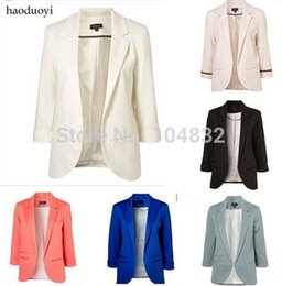 Wholesale EAST KNITTING Best Quality New Women Blazers Brand Coat Jacket Business Suit Lady Seven Sleeve Solid Color Jacket