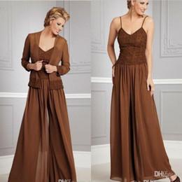 Vintage Mère Taille de la mariée robes Robe de dentelle Mère élégante Pantalon Costumes Longue mère de robes de marié Taille Plus Mère Suit