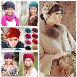 Wholesale DHL headbands for girls Unisex Wool Crochet Headband Knit Flower Winter Ear Warmer hair bands accessories Christmas Gifts