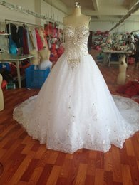 Wholesale Real Dress Sheer In Stock Wedding Gowns Newest Luxury Zuhair Murad Sweetheart Swarovski crystals Applique Bead cathedral wedding dresses