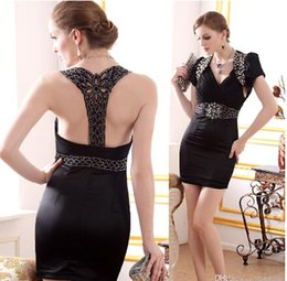 Wholesale Sheath Cocktail Dresses with Jacket V Neck Sleeveless Crystal Satin Short Prom Gowns Special Occasion Dresses Sexy Party Gowns Black TLW