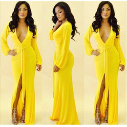 yellow v neck maxi dress on sale
