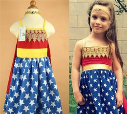 Wholesale Wonder Woman Children Cosplay Clothes Girls Heroine Dresses Summer European Kids Style Lace Star Print Red Cape Suspender Dresses I4649