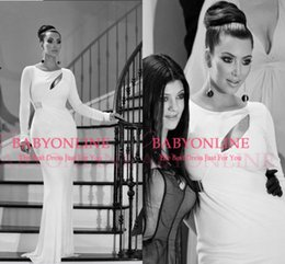 Wholesale Kim Kardashian Vintage Formal Evening Dresses White Long Sleeves Celebrity Dresses Crew Sheath Floor Length Party Prom Gowns BO7075