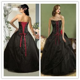 Wholesale 2015 black and Red Gothic Ball Gown Front Vintage Quinceanera Dress Appliqué Prom Dress Sweep Strapless Lack up Wedding Dresses Party Gowns