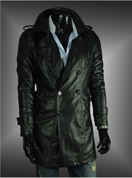 Discount Mens Long Black Leather Trench Coat | 2017 Mens Long