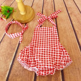 Wholesale Ruffled Baby Girl Sunsuit Romper Grids Printing Baby Girls Clothing Set Cut Kids Jumpsuit Cotton Chevron Rompers Photo Props
