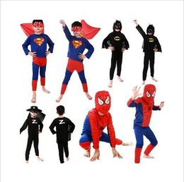 5 цвет человек-паук Супермен Бэтмен Хеллоуин костюм Зорро костюмы набор наборы Дети МЛАДЕНЦА длинный рукав костюм супергероя косплей HHA001