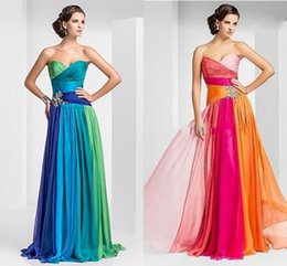 Wholesale 2014 High Quality Low Price Multicolor Graduation Dresses A Line Sweetheart Lace up Beads Crystals Pleats Chiffon Long Formal Evening Dress