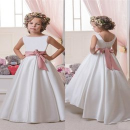 simple design cheap flower girls dresses a line bateau neckline sleeveless long kids wedding party gowns with rose pink sash bow