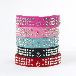 Discount wholesale leather collars Suede Leather Rhinestone Dog Collar Crystal Diamante 3 Rows pet collarXS,S,M,L