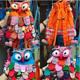 Wholesale Nice for Kids Preschool Children Colorful Book Bag Schoolbag Owl Ethnic Backpack