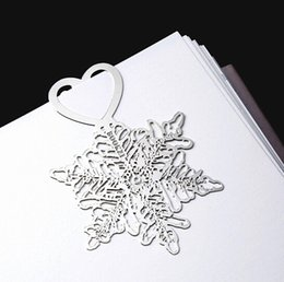 Wholesale NEW Wedding bookmark hollow out snow flower metal paragraph Creative Bookmarks SQ05