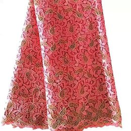 Wholesale New arrival High quality african cord lace fabric polyester coral flower design fashion plyester yrds for women dresses