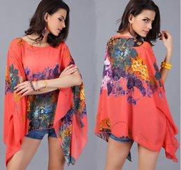 Wholesale 3XL European style Women Vintage retro Floral chiffon loose shirts Best Ladies Girls korean Thin casual long sleeve blouse Shirt Top Jumper