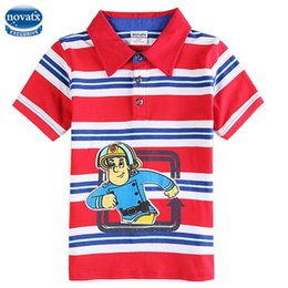 Wholesale Boy T shirt New Summer T shirt Fireman Sam Printing Stripes Polo Shirts Turn Collar Cotton Kids Clothing Kids Wear C3951
