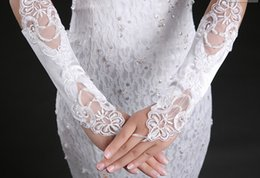 Wholesale Hot Sale New White Lace Fingerless Wedding Bridal Gloves Formal Party Evening Prom Gloves Wedding Accessoriess A112101