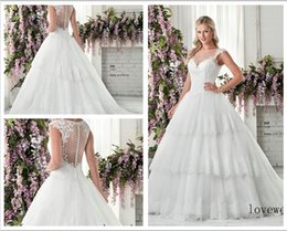 Wholesale Custom Made Lace Appliques edge Tiered tulle and lace ballgown with illusion back and neckline Style Wedding Dresses