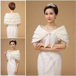 Wholesale 2015 Winter Tiered Fur Bridal Wraps In Stocks Ivory Wedding Dress Bolero US