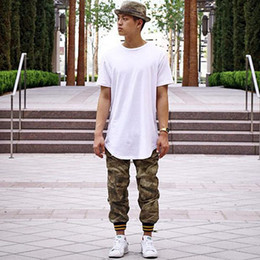 Wholesale 2016 New Summer style cool T shirt Kanye west solid sport tshirt oversized hip hop Tees Swag extended t shirt tops casual