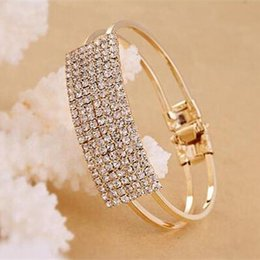 Wholesale 2015 Sparkly Gold Silver Crystal Bracelets Wedding Party Pageant Prom Bridal Jewelry Rhinestone Bridal Bracelet Accessory In Stock