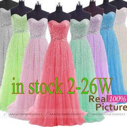 Wholesale 2015 IN STOCK Beaded Prom Evening Gowns Backless A Line Sweetheart White Grey Blue Lilac Green Pink Plus size Long Formal Party Dress