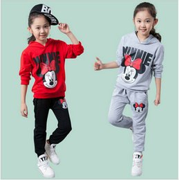 Wholesale New hot sale Children Sweatshirt mickey Two piece set Boys girls Minnie Mouse Long sleeved sports suit Baby Hoodies Tracksuit kids clothing