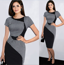 Wholesale VfEmage Womens Summer Style Colorblock Patchwork Tartan Check Plaid Wear to Work Business OL Party Sheath Pencil Dress