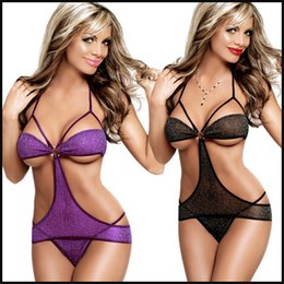 Wholesale w1025 sleepwear costume uniform underwear sexy lingerie Black Purple vogue hot teddy dress one piece set