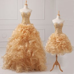 Wholesale 2015 Modern Classic Cascading Ruffles Ball Gown Quinceanere Dresses Crystal Sweetheart Lace Up Detachable Vestido De Organza