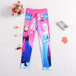 Wholesale frozen leggings princess Elsa Anna long pants spring autumn children tights snow queen cosplay pants trousers DHL Free