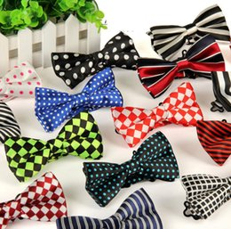 Wholesale 15pcs New Mens Polka Dot Stripes Bowties Formal Male Solid Color Marriage Bow Ties For Men Candy Color Butterfly Cravat