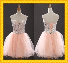 Wholesale 2015 Modest Coral Sweetheart Homecoming Dresses Corset Tulle Ruched Short Mini Crystal Bead Cocktail Dresses Party Evening Prom Dress Gowns