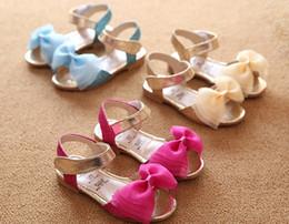 Wholesale Baby Shoes Spring Summer Kids Sandals Princess Girls Chiffon Bow Open Toe Shoe Children Blaze With Color Sandal Blue Golden Rose I3394
