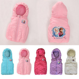 Wholesale Retail new Frozen princess Anna Elsa baby girl vest coat children winter waistcoat outerwear girls warm jacket kids clothing HX