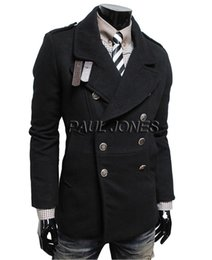 Wholesale Grace Karin New Fashion Winner Warm Mens Slim Fit Double Breasted Wool Blends Coat Outerwear Size CL7377