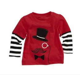 Wholesale Boys T shirts Magician Stripe Sleeve Fake Piece Red Long Sleeve T shirts