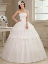 Wholesale Cheap wedding dress Fast Shipping Korean Version Fashion High end and generous Beautiful US SIZE or S M L XL Floor length C In stock