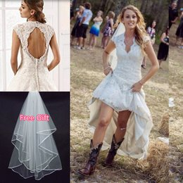 Wholesale 2015 Rustic Country High Low Wedding Dresses with Lace Hi Lo Skirt Sexy V Neck Capped Sleeves Personalized Plus Size Boho Chic Bridal Gowns