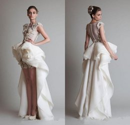 Wholesale Modern Ball Gowns Krikor Jabotian Wedding Dresses Sheer Crew Neckline Ruffles Organza Ivory Hi Lo Bride Gown Appliques Button