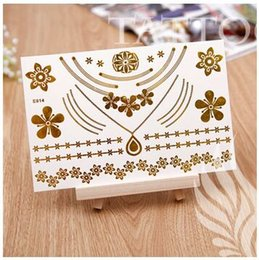 Wholesale 2015 Temporary Tattoo Stickers Metallic Gold Foil Tattoo Flash tattoos Gold Silver Temporary Tattoo Waterproof