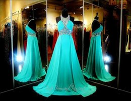 Wholesale Elegant Real Photo Sparkling Beaded Halter Straps Prom Dresses Green Aqua Chiffon Crystal Long Backless Special Occasion Evening Gowns