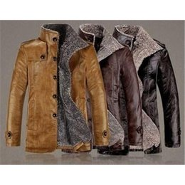 Wholesale cheap good Winter Male Fur Stand Collar Thickening And Wool Windbreak Waterproof Lether Jackets Leather Coat Men s Leather Jacket