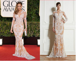 Wholesale 2014 Zuhair Murad Lace Evening Dresses Long Sleeve Crew Neck Floor Length White Lace Champagne Lining Sheath Party Gowns Custom E102