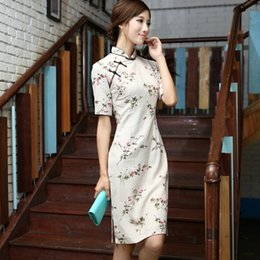 Wholesale New arrival retro cheongsam chinese style Hemp blended qipao Floral printing daily dress