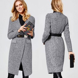 Wholesale New autumn and winter coats Somber toned v neck OL in long coats fashion trendy woolen cloth wools coats with a belt