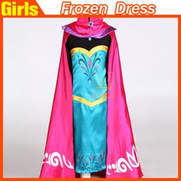 Wholesale Frozen Anna gown dresses with long cape frozen coronation dress kids Girl Cosplay Costume long sleeve costume dresses